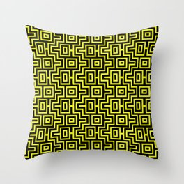 Yellow Buzz Puzzle Choctaw Pattern Throw Pillow