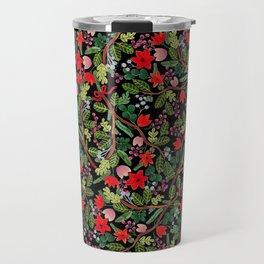 Christmas Floral Black Travel Mug