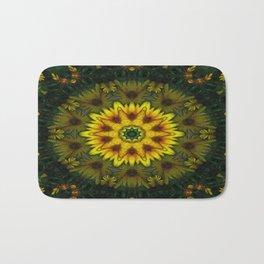 Large Yellow Wildflower Kaleidoscope Art 7 Bath Mat