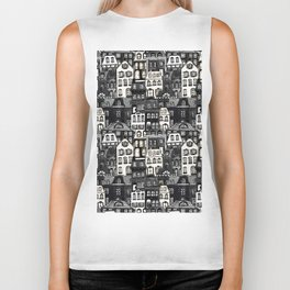 Mansard Village in Black + White Watercolor Biker Tank