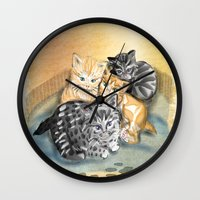 kittens Wall Clocks featuring Kittens by Michelle Behar