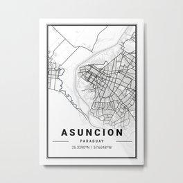 Asuncion Light City Map Metal Print