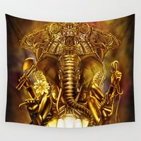 cyberpunk Wall Tapestries featuring Ganesha by Giorgio Finamore
