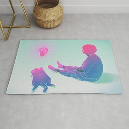 Girl with her Cat 2 Rug