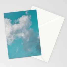Floating cotton candy with blue green Stationery Cards
