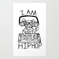 hiphop Art Prints featuring I AM HIPHOP  by Geryes