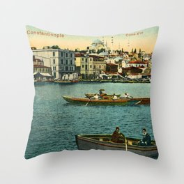Vintage Golden Horn Constantinople ca 1900  Throw Pillow