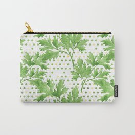 Parsley on Green Yellow Dots Carry-All Pouch