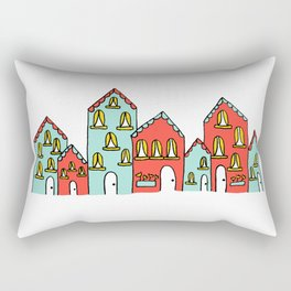 Colorful Little Village of Houses Rectangular Pillow