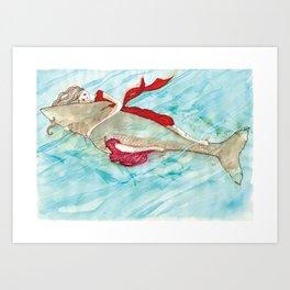 Girl hugging a shark Art Print