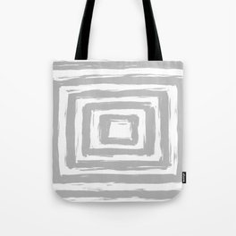 Minimal Light Gray Brush Stroke Square Rectangle Pattern Tote Bag