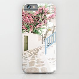 Bright and Colorful Mykonos Street Scene in Greece iPhone Case