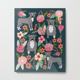 Pit Bull Terrier florals must have dog art pet friendly gifts for pit bull owners cute illustration  Metal Print