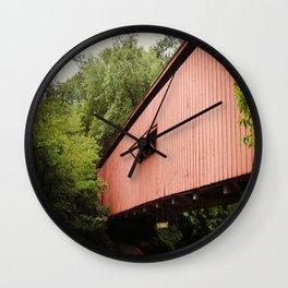 Red Covered Bridge Wall Clock
