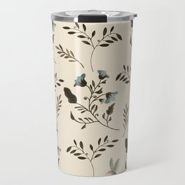 Ivory Cream and Bluebells and Bluebirds Floral Pattern Flowers in Blue and Bark Brown Travel Mug