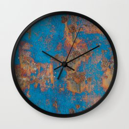 Rust on blue background Wall Clock