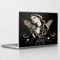 angel wings Laptop & iPad Skins featuring Black (Wings/Angel) by Alexa Brooke Rutledge