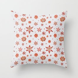 Cats on  red-orange flowers Throw Pillow