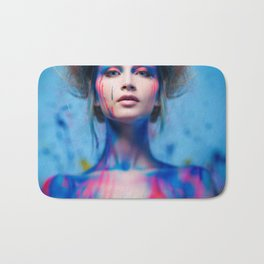 Young woman muse with creative body art and hairdo (5) Bath Mat