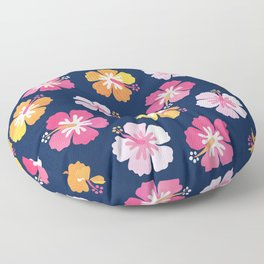 CANDY COLORED HIBISCUS on NAVY Floor Pillow