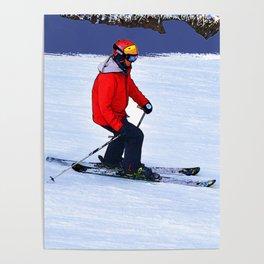 Winter Run - Downhill Skier Poster