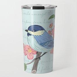 Blue Chickadee Travel Mug
