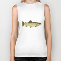 trout Biker Tanks featuring Brown Trout by Trinity Mitchell