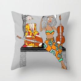 Violin Sisters Throw Pillow