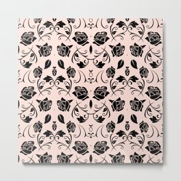Black Rose Flower Pattern Print Metal Print