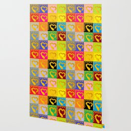Gold Hearts on colorful Stamp Wallpaper