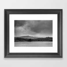 Rainclouds and rain over Rydal Water at dusk. Lake District, UK. Framed Art Print