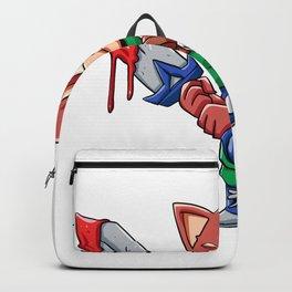Warrior fox  cartoon illustration Backpack