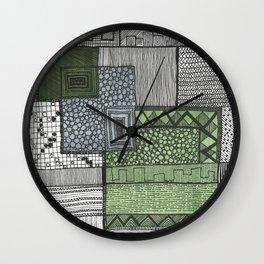 Hand drawn pattern three squares Wall Clock