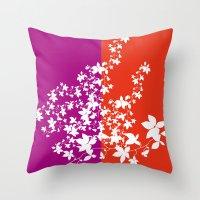 climbing Throw Pillows featuring Climbing Flowers by Mari Biro
