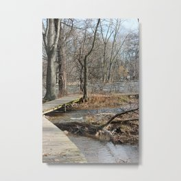 Boardwalk along the rushing River Metal Print