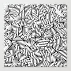 Abstraction Lines #2 Black and White Canvas Print