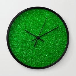 Emerald Green Shiny Metallic Glitter Wall Clock