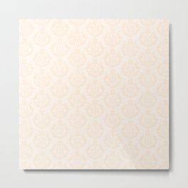 Pastel Peach Damask Pattern Metal Print