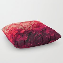 MERMAID SCALES 4 Red Vibrant Ocean Waves Splash Crimson Strawberry Summer Ombre Abstract Painting Floor Pillow