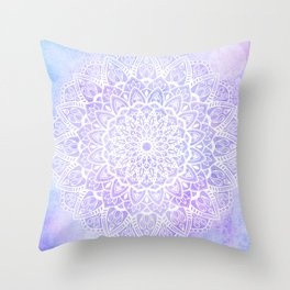 White Mandala on Pastel Blue and Purple Textured Background Throw Pillow