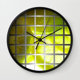 Limes & Square Grid Collage Metallic Wall Clock