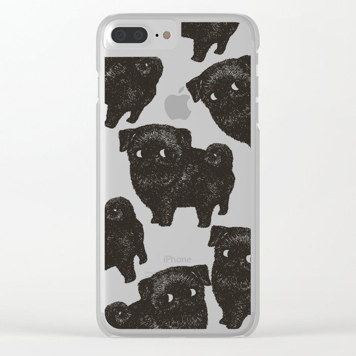 Black Pug Clear iPhone Case