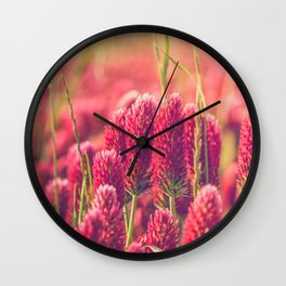 Crimson Clover Wall Clock