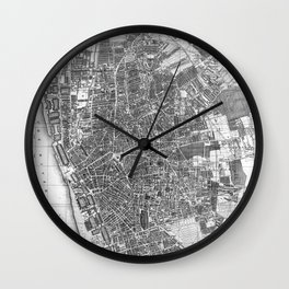 Vintage Map of Liverpool England (1890) BW Wall Clock