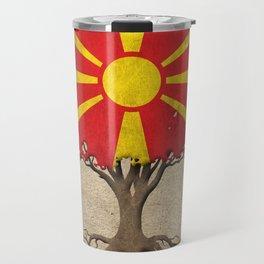 Vintage Tree of Life with Flag of Macedonia Travel Mug