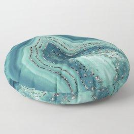 Teal Agate Rose Gold Glitter Glam #2 #gem #decor #art #society6 Floor Pillow