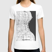 milwaukee T-shirts featuring Milwaukee Map Gray by City Art Posters