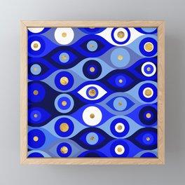 Greek Mati Mataki - Matiasma Evil Eye blues Framed Mini Art Print