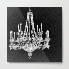 Black and White Chandelier Metal Print