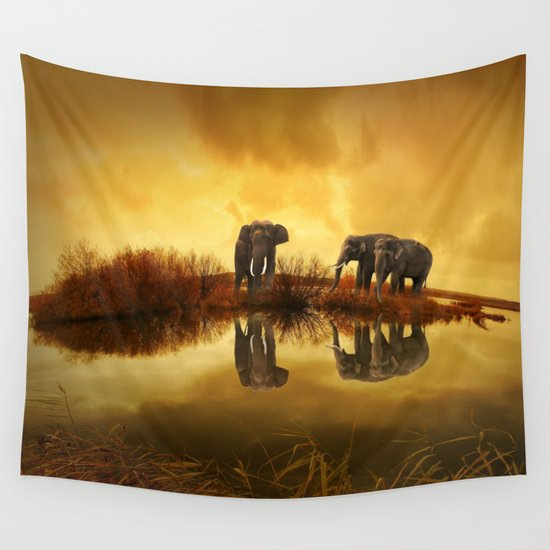 The Herd (Elephants) Wall Tapestry